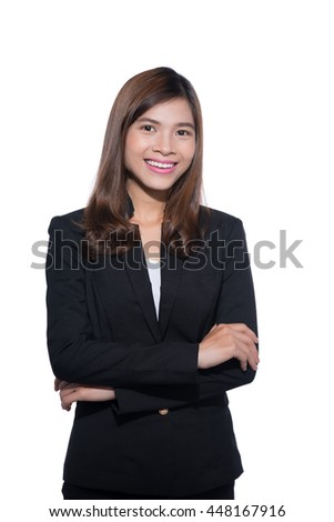 Portrait of a beautiful businesswoman over white background.