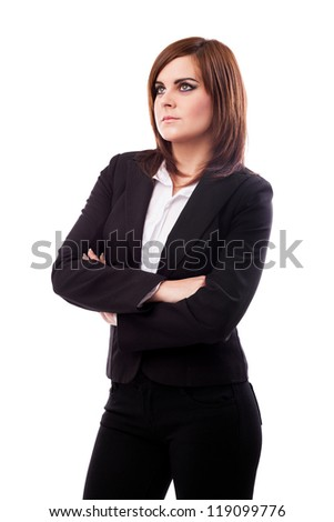 Portrait of a beautiful businesswoman standing with crossed arms isolated on white background - stock photo