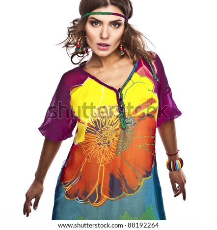 Portrait of a beautiful casual woman in colorful dress