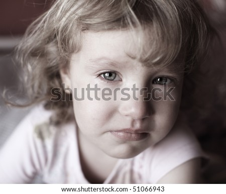 Portrait of a beautiful crying girl - stock photo