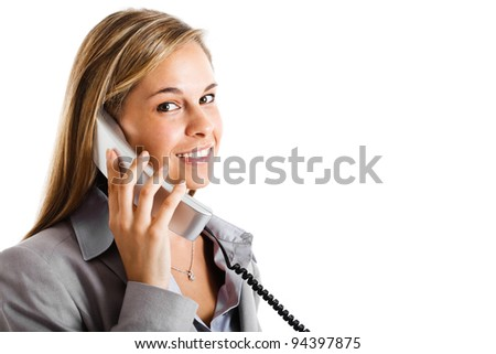 Portrait of a beautiful customer representative smiling - stock photo