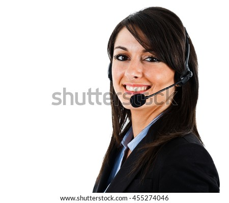 Portrait of a beautiful customer service representative - stock photo