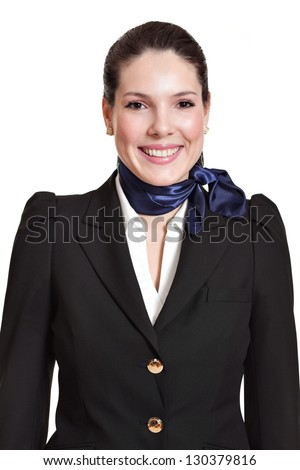 portrait of a beautiful dark haired young business woman dressed in a black suit with a blue scarf, smiling, natural makeup, isolated on white background - stock photo