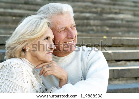 portrait of a beautiful elderly couple sitting in park - stock photo