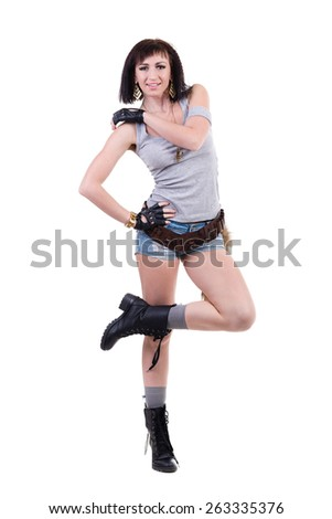 Portrait of a beautiful female dancer posing on isolated white background - stock photo