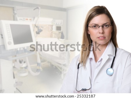 Portrait of a beautiful female doctor - stock photo