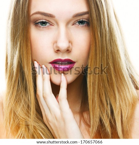 Portrait of a beautiful girl, closeup face