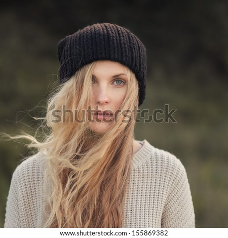 portrait of a beautiful girl hipster - stock photo