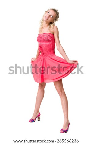 portrait of a beautiful girl in dress isolated on white background in full body - stock photo
