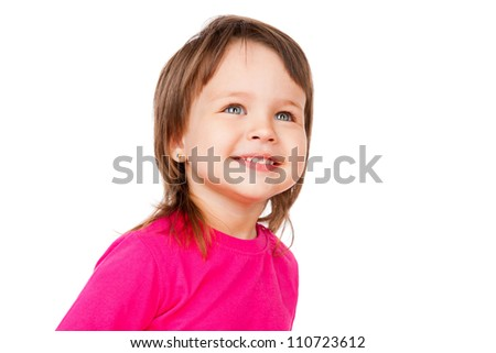 Portrait of a beautiful girl, isolated on white - stock photo