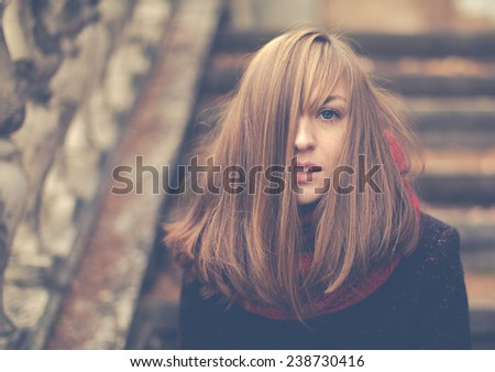 Portrait of a beautiful girl on a cold day - stock photo