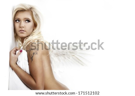 portrait of a beautiful girl over white background - stock photo