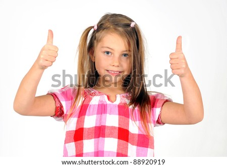 Portrait of a beautiful girl showing thumbs up isolated one white - stock photo