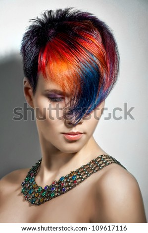 portrait of a beautiful girl with dyed hair, professional hair coloring - stock photo