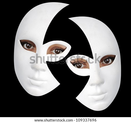 Portrait of a beautiful girl with white mask - stock photo