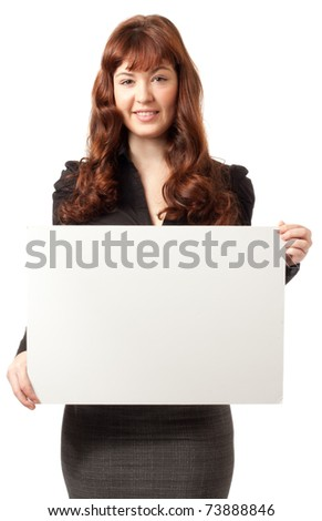 Portrait of a beautiful happy business woman holding a blank billboard. Ready to add text. - stock photo