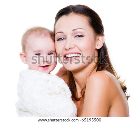 Portrait of a beautiful happy mother with smiling baby  isolated on white - stock photo