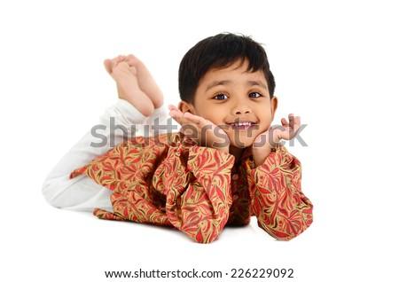 Portrait of a beautiful indian boy - stock photo