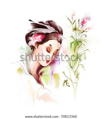Portrait of a beautiful Japanese woman - stock photo