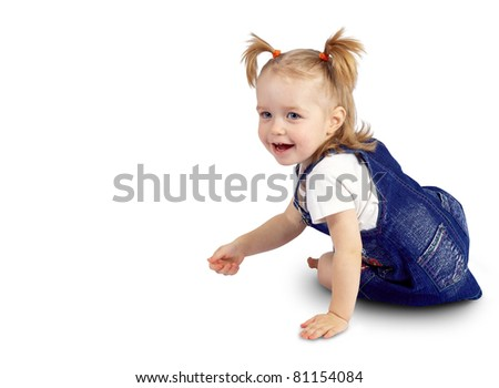 portrait of a beautiful little baby on a white background isolated - stock photo