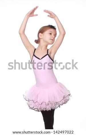 portrait of a beautiful little ballerina - stock photo