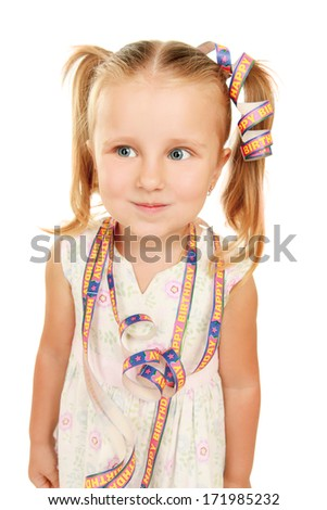 Portrait of a beautiful little girl close-up - stock photo