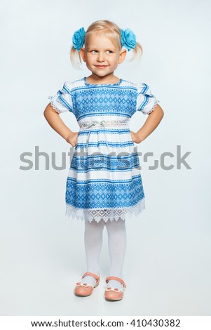 Portrait of a beautiful little girl. Girl smiling - stock photo