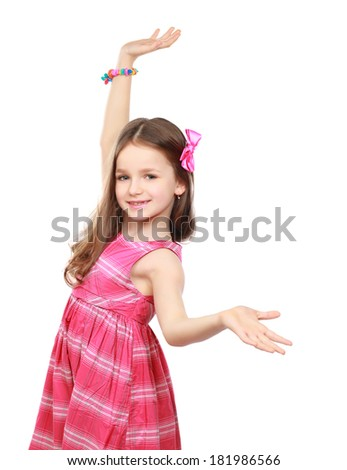 Portrait of a beautiful little girl ,isolated on white background - stock photo