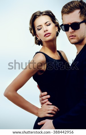 Portrait of a beautiful man and woman. Beauty, fashion. Love concept. - stock photo