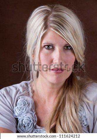 Portrait of a beautiful middle aged 30- 40 year old woman - stock photo