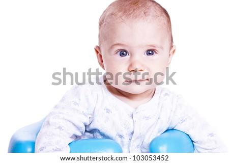 portrait of a beautiful newborn boy on a white background - stock photo