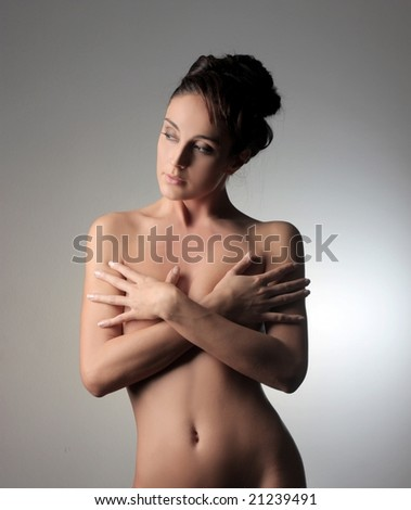 portrait of a beautiful nude woman - stock photo