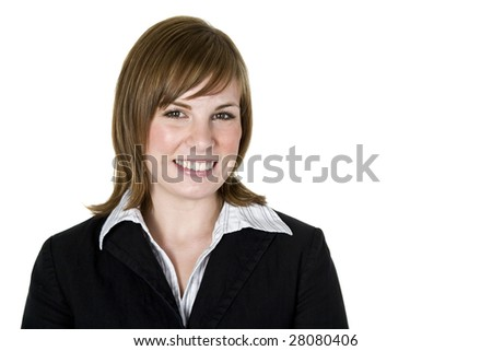Portrait of a beautiful professional woman isolated on white - stock photo