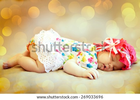 Portrait of a beautiful sleeping baby. Soft focus. - stock photo