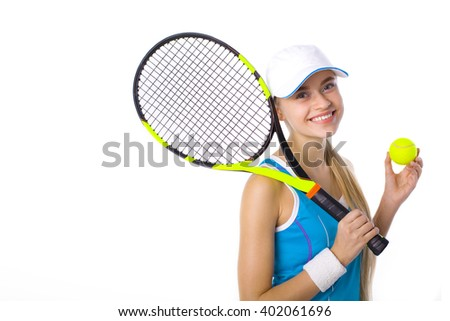 portrait of a beautiful smiling girl with a tennis racket and ball on a white background - stock photo