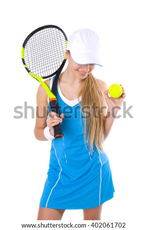 portrait of a beautiful smiling girl with a tennis racket and ball on a white background