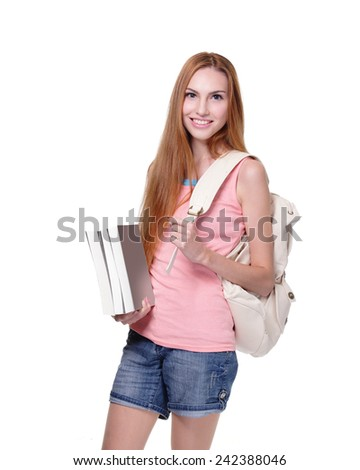 Portrait of a beautiful smiling student. Isolated on white background, caucasian - stock photo