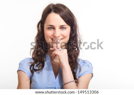 Portrait of a beautiful smiling woman - stock photo