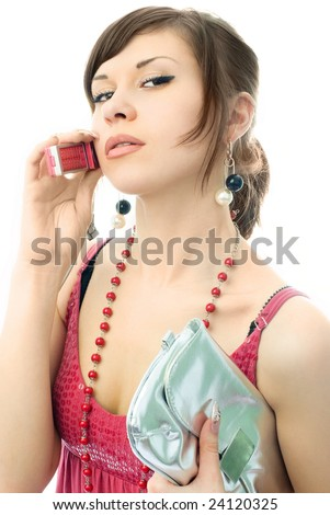 portrait of a beautiful stylish woman gossiping with her friend - stock photo
