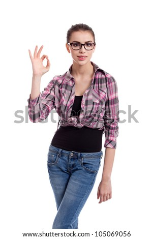 portrait of  a beautiful teen girl, showing ok, isolated on white background
