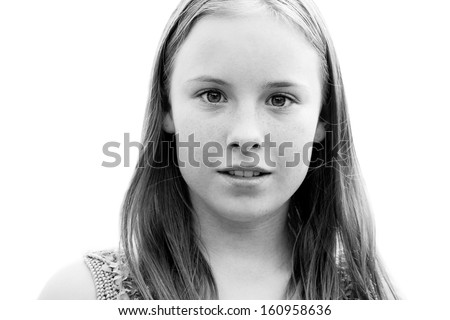 portrait of a beautiful teenage girl closeup in black and white - stock photo