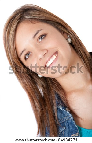 Portrait of a beautiful teenage girl smiling ? isolated over white