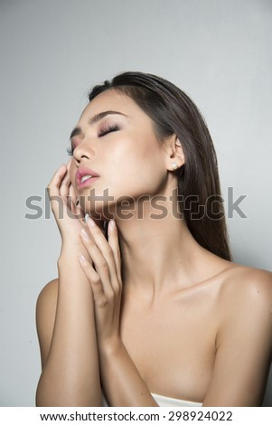 portrait of a beautiful woman asian look - stock photo
