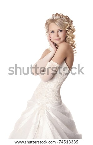Portrait of a beautiful woman dressed as a bride isolated on white background.