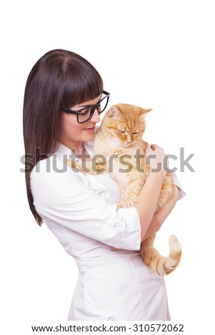 Portrait of a beautiful woman holding red cat, isolated on a white background - stock photo