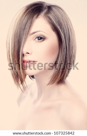 portrait of a beautiful woman in short blond - stock photo