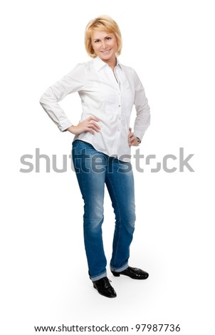 Portrait of a beautiful woman, isolate on white - stock photo