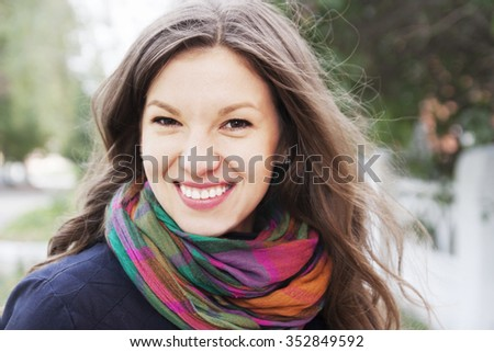 Portrait of a beautiful woman on the nature - stock photo