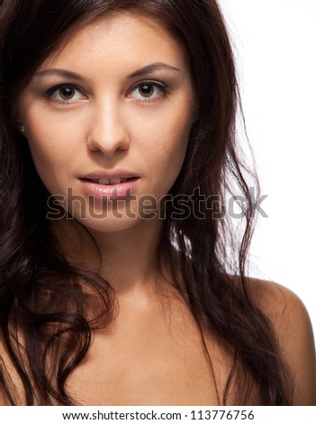 Portrait of a beautiful woman on white background