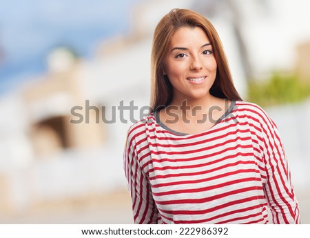 portrait of a beautiful woman posing standing - stock photo